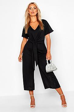 Plus Tie Front Angel Sleeve Culotte Jumpsuit