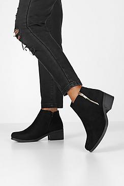 Zip Side Block Heel Chelsea Boots