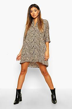 Leopard Button Through Smock Dress