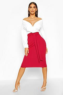 Contrast Off Shoulder Wrap Midi Dress