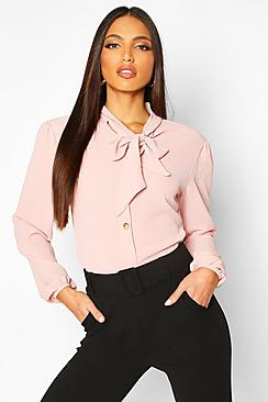 Pussybow Button Through Volume Sleeve Blouse