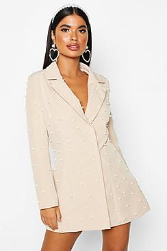 Petite Pearl Detail Blazer Dress
