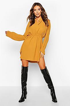Woven Shirred Waist Shirt Dress