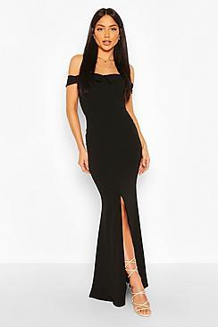 Bardot Split Front Maxi Dress