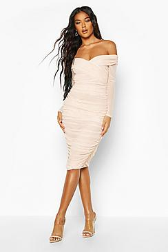 Off Shoulder Ruched Mesh Bodycon Midi Dress