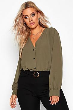 Plus Woven Button Through Collarless Shirt