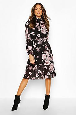 Floral Print Ruffle Neck Midi Dress