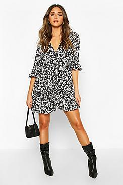 Woven Ruffle Front Wrap Tea Dress