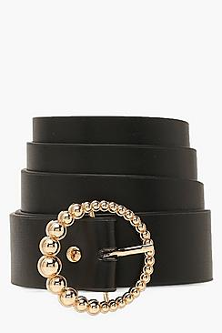 Gold Beaded Circle Buckle Belt