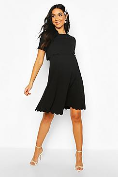 Maternity Double Layer Scallop Skater Dress