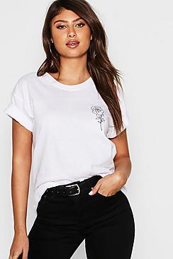 Rose Pocket Print T-Shirt