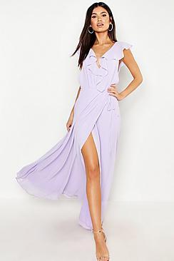 Frill Wrap Detail Chiffon Maxi Bridesmaid Dress