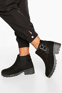 Buckle Detail Block Heel Chelsea Boots