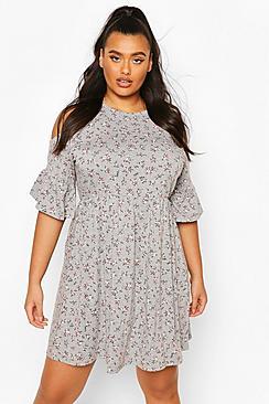 Plus Open Shoulder Ruffle Smock Dress