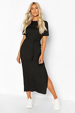 Tall Side Split Belted Rib T-Shirt Dress