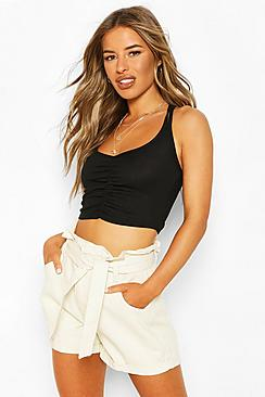 Petite Ruched Front Double Strap Cami Top