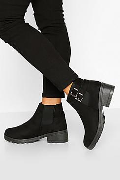 Wide Fit Buckle Detail Block Heel Chelsea Boots
