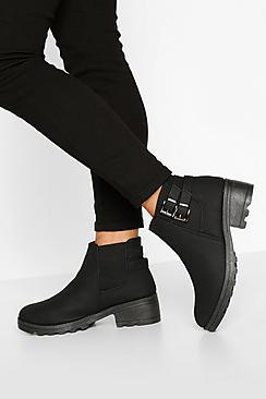 Wide Fit Buckle Detail Block Heel Chelsea Boots