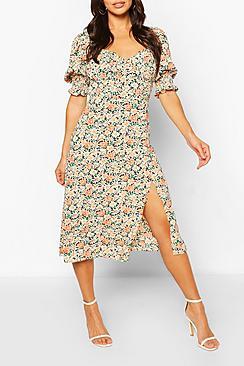 Floral Puff Sleeve Slit Front Midi Dress