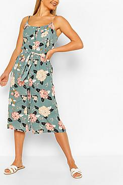 Floral Print Strappy Culotte Jumpsuit
