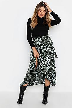 Satin Green Leopard Wrap Midi Skirt