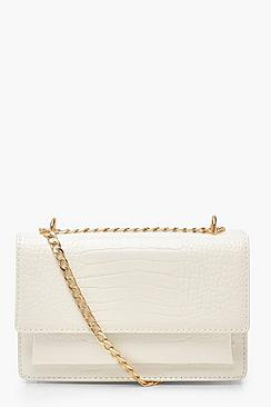 Croc Structured Cross Body & Chain Bag