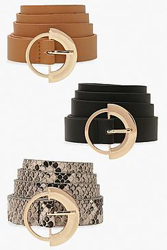 3 Pack Ring Detail Buckle Belt