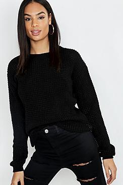 Se  Tall Waffle Knit Jumper ved Boohoo.com