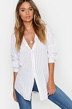 Se  Oversized Split Side Stripe Shirt ved Boohoo.com