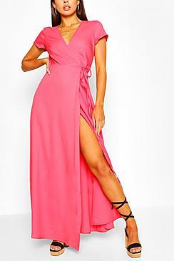 Plunge Front Tie Wrap Maxi Dress