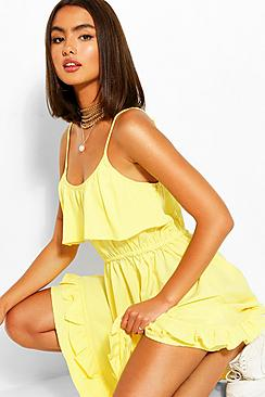 Strappy Frill Detail Swing Dress