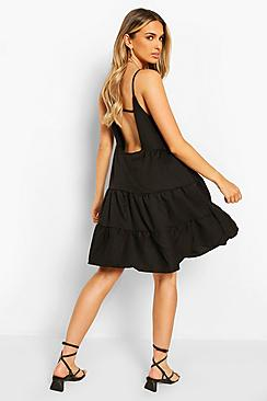 Strappy Low Back Tiered Swing Dress