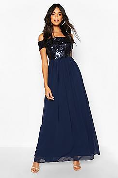 Bridesmaid Occasion Sequin Bardot Maxi Dress
