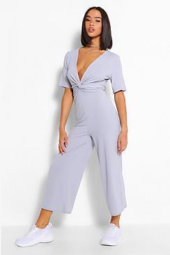 Ribbed Twist Front Culotte Jumpsuit
