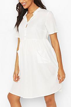 Maternity Button Front Pocket Smock Dress