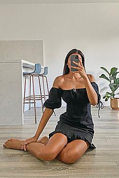 Tall Off The Shoulder Puff Sleeve Mini Dress