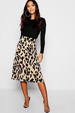 Petite Leopard Print Bias Cut Midi Skirt