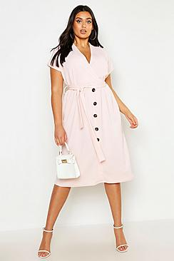 Plus Belted Button Down Midi Dress