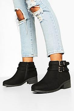 Wide Fit Two Buckle Block Heel Chelsea Boots