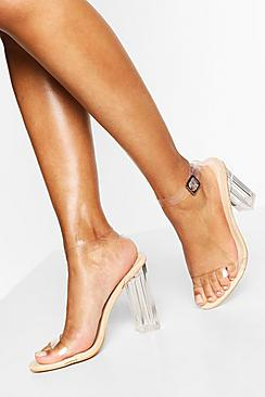 Wide Fit Clear Barely There Heels