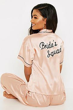 Rose Gold Brides Squad Embroidered PJs