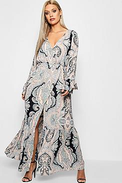 Plus Paisley Wrap Maxi Dress