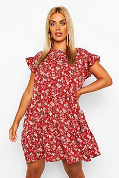 Plus Ditsy Floral Tiered Ruffle Smock Dress