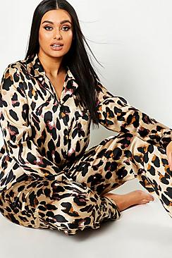 Plus Leopard Print Satin PJ Set