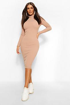 Premium Ribbed High Neck Midi Dress