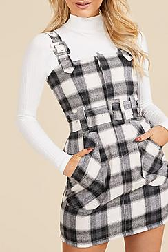 Checked Buckle Detail Pinafore Dress
