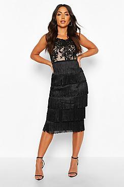 Sequin Lace Tassel Detail Midi Dress