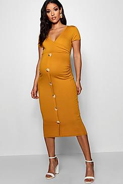 Maternity Wrap Front Horn Button Midi Dress