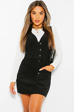 Petite V-Neck Cord Button Front Pinafore Dress