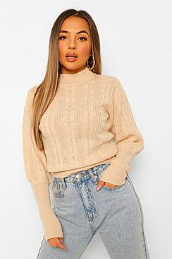 Petite Cable Knit High Neck Puff Sleeve Jumper